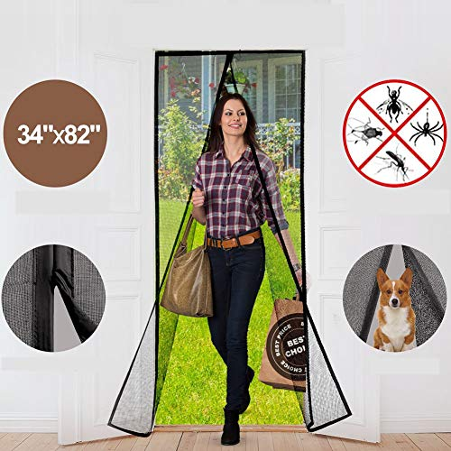 Magnetic Screen Door with Durable Fiberglass Mesh Heavy Duty Reinforced Mesh Door Screen with Magnets & Full Frame Velcro Fits Doors Up to 34 x 82-Inch (Black)