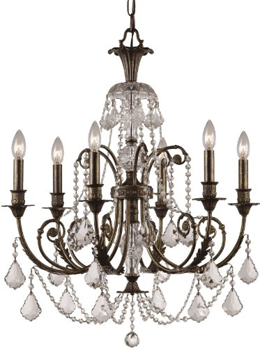 Accents Chandelier Light Six (Crystorama 5116-EB-CL-MWP Crystal Accents Six Light Chandeliers from Regis collection in Bronze/Darkfinish,)