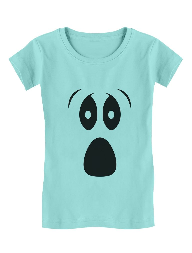 Halloween Ghost Costume Funny Ghoul Face Toddler/Kids Girls' Fitted T-Shirt GhPhZlZgw5h0w59M/Z