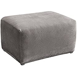 Surefit Sure Fit SF45540 Stretch Pique Oversized Ottoman Slipcover, Flannel Gray