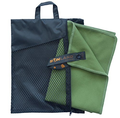 sunland Microfiber Travel Towel Fast Drying Ultra Compact Sports Sweat Outdoor Towel with Carry Bag Set (Green, Set:1pc 32Inchx60Inch Towel+1pc 16Inchx32Inch Towel)