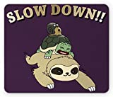 Ambesonne Sloth Mouse Pad, Funny Cartoon Scenery with Sloth Turtle Snail on Top of Each Other Slow Down Phrase, Rectangle Non-Slip Rubber Mousepad, Standard Size, Purple