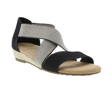 3f0fa0b91c Reflect Stretch Wedge Sandal with Memory Foam, Black/Oatmeal Canvas/Stretch  Elastic,