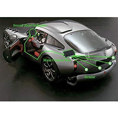 SINOVCLE Car Reverse Backup sensors Radar System Premium Quality 4 Parking Sensors Car Reverse Backup Radar System with Buzzer Beeps (Gray Color): Automotive