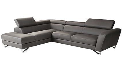 Ju0026M Furniture Sparta Mini Left Hand Facing Sectional Sofa In Grey