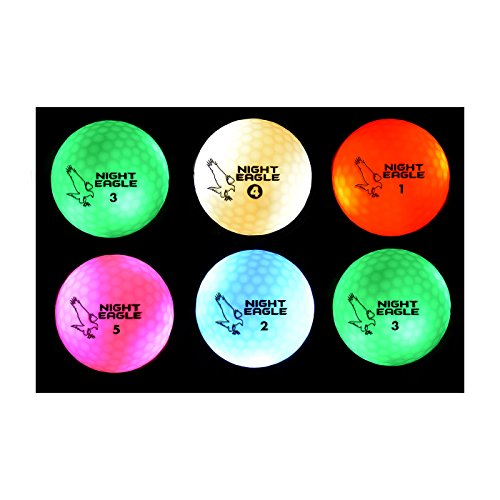 Night Eagle CV LED Golf Balls - Light Activated - No Timer - 6 Pack -