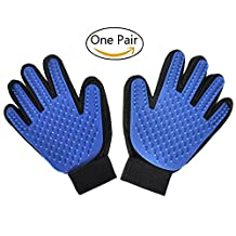 Left&Right Pet Grooming Gloves Mitts, Pet Deshedding Bathing Massage Brush Glove Comb for Long & Short Hair Dogs, Cats, Bunnies, Horses, 2 Pack (LEFT&RIGHT, BLUE)