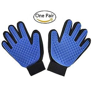 Freefa guantes de aseo para mascotas, guantes de masaje, peine para perros de pelo largo y corto, gatos, conejos, caballos, 2 unidades (izquierdo y derecho, azul)