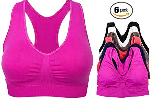 Barbra's 6 Pack Plus Size Wirefree Racerback Bras with Removable Pads (L-2XL) (Plus Size Racerback Bra)