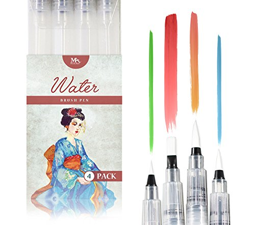 MozArt Supplies Water Brush Pens - Set of 4 Brush Tips - Great for Watercolor Paints, Water Soluble Pencils, Brush Pen, Markers - Refillable Brush Pens - Aqua Pen, Art Brushes ()