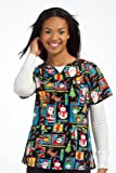 Peaches Sport by Peaches Uniforms Women's 100% Cotton Nancy Keyhole Neck Scrub Top (Christmas Spirit Medium)