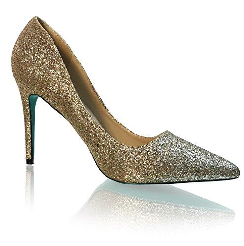 Marc Defang New York Womens Glitter 4 Scarpe A Punta Pompe Champagne