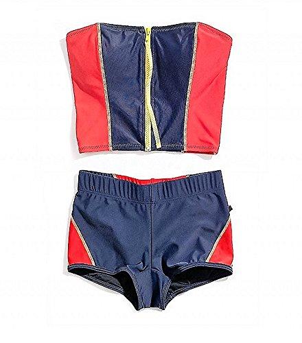 Tommy Hilfiger Core Navy Zipper Front Bikini Bandini Top Navy Blue Red