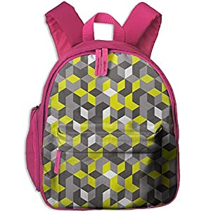 Haixia Teen's Boys'&Girls' Bookbag with Pocket Grey and Yellow 3D Print Inspired Modern Geometrical Boxes Cubes Image Full Mustard Yellow Black and White