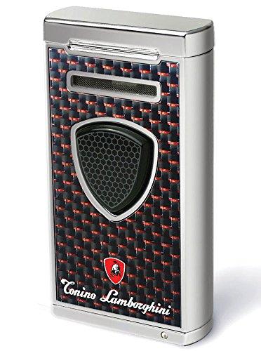 Tonino Lamborghini Pergusa Black And Red Carbon Fiber Torch Flame Lighter by Tonino Lamborghini