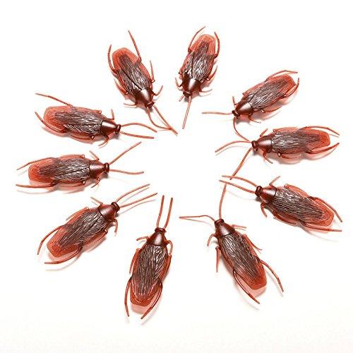 LaDicha 10Pcs Prank Funny Trick Joke Toys Lifelike Model Simulation Fake Cockroach Toys Kids Children Props