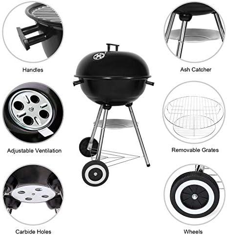 SunJas Barbecue à Charbon Rond, BBQ Mobile Barbecue Grill Portable de Jardin, avec Couvercle et 2 Roues - 46 * 44 * 70cm