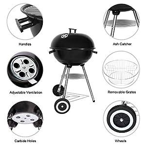 SunJas Barbacoas de Carbón Barbacoas de Carbón Parrilla de Barbacoa de Acero Inoxidable para Jardín Exterior BBQ