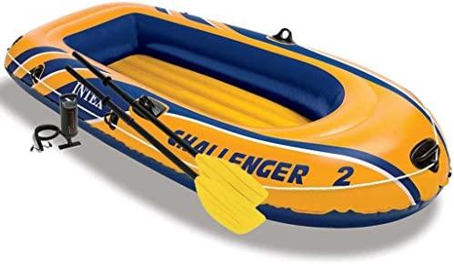 Festnight Barca Inflable con Remos e Hinchador Capacidad Máx de Carga 170 kg 236 x 114 x 41 cm