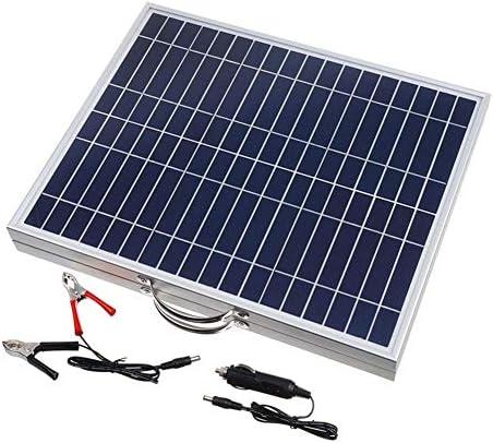 ソーラーパネル 60W 18V DC USB出力バッテリークリップケーブル付き防水折り畳み式携帯単結晶シリコン太陽電池パネル ソーラー充電器 (Color : Black, Size : 68.3x41.8cm)
