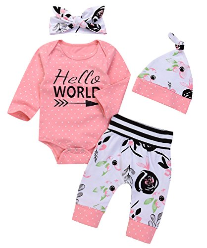Price comparison product image UNIQUEONE Newborn 3Pcs Baby Boys Girls Hello World Romper+Floral Pants+Headband Clothes Outfits Set Size 3-6Months/Tag70 (Pink)