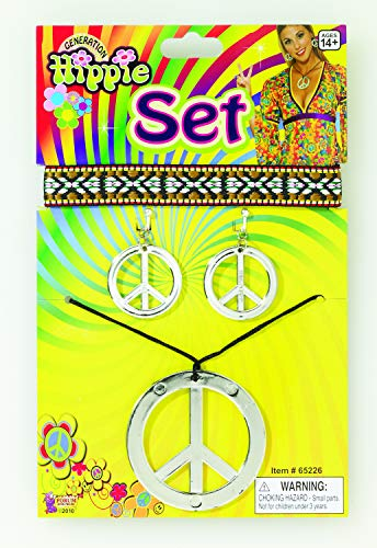 Forum Novelties 65226 Hippie Peace Necklace & Earrings, Silver, One Size Fits Most, As Shown, 9.4 x  - http://coolthings.us