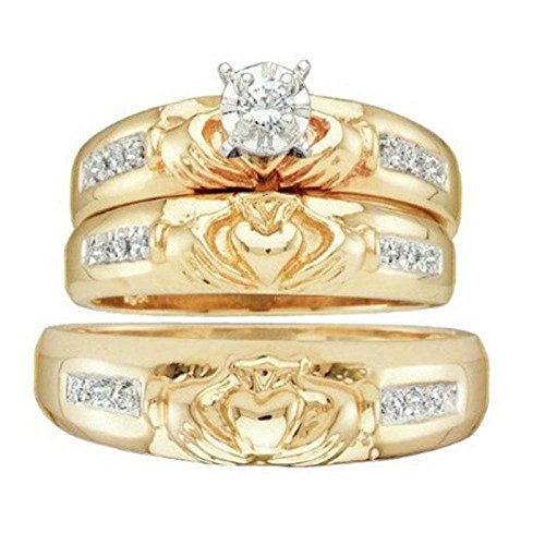 Silvostyles 1/8 ct 14k Yellow Gold Fn 925 Diamond Claddagh Trio His & Her's Wedding Ring Set