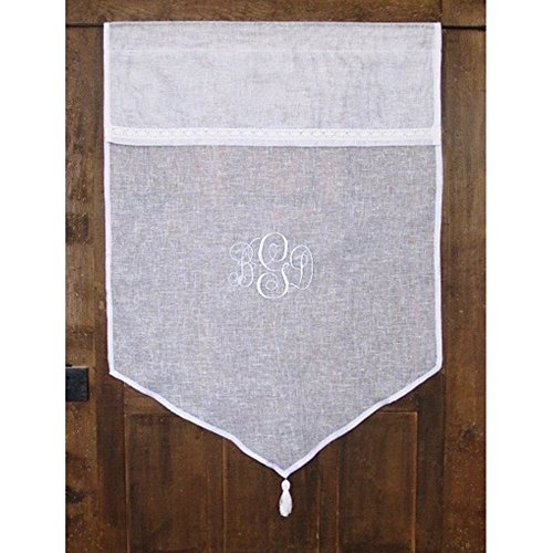Personalized Custom Cafe Curtain Sheer Linen Kitchen Window Monogram Tassel