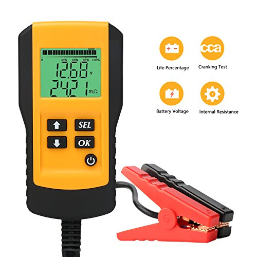 SUNER POWER Digital 12V Car Battery Tester Automotive Battery Load Tester and Analyzer of Battery Life Percentage,Voltage, Resistance and CCA Value for Flood, Gel, AGM, Deep Cycle Battery
