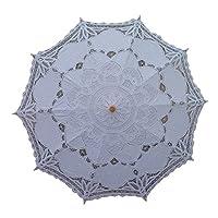 AEAOA White Lace Parasol Umbrella Wedding Bridal 30 Inch Adult Size