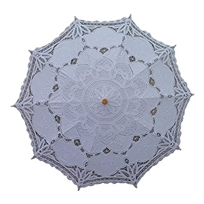 AEAOA White Lace Parasol Umbrella Wedding Bridal 30 Inch Adult Size - lace umbrella wedding umbrella wedding parasol - shades-parasols, patio-furniture, patio - 51lmjeHxclL. SS400  -