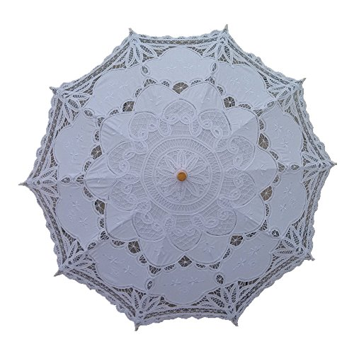 AEAOA White Lace Parasol Umbrella Wedding Bridal 30 Inch Adult Size -