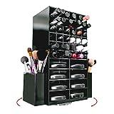 Spinning Acrylic Makeup Organizer | Holds 72 Lipstick Holder Slots, Brushes & 16 Powder Compact Cases | Black Cosmetics Storage Box