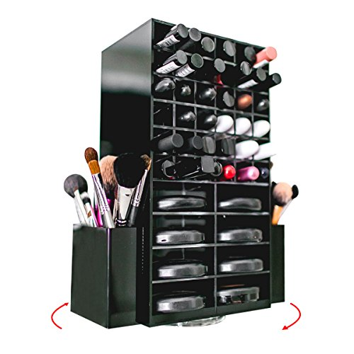 Spinning Acrylic Makeup Organizer Carousel - Holds 72 Lipstick Holder Slots, Brushes & 16 Powder Compact Cases | Black Cosmetics Storage Box