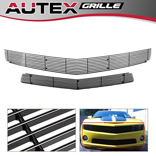 AUTEX Main Upper+Lower Bumper Billet Grille Insert Combo Compatible with 2010-2013 Chevy Camaro SS V8 Grill C61029H ()