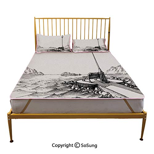 Sketchy Creative Full Size Summer Cool Mat,Bench and Lantern in The Middle of Ocean Waves Mountains Rocks Artistic Monochrome Decorative Sleeping & Play Cool Mat,Black White
