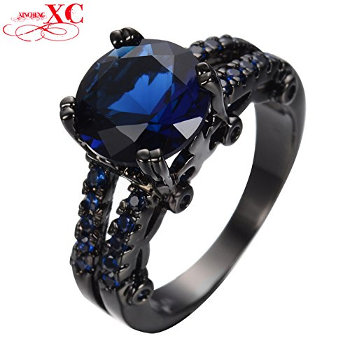Russian Costumes Designer (AYT Blue Sapphire Couple Rings Black Gold Filled Cubic Zircon Female Male Wedding Engagement Party Christmas Ring Gift Anel 8.0)