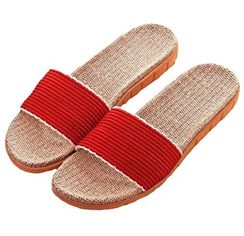 Hoxekle Cozy Men Women Soft Linen House Bedroom Slippers Non-Slip Thick Bottom Couple Home Cool Slippers