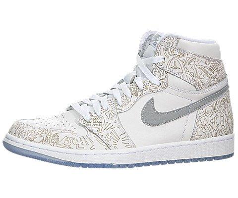Jordan Nike Men's 1 Retro Hi Og Laser White/Metallic Silver Basketball Shoe 11.5 Men US
