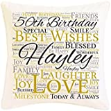 Personalised 50th Birthday Word Art Faux Silk Cushion. Personalised details required. by Pure Essence Greetings