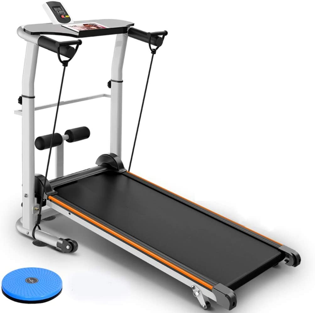 ZHAN YI SHOP Folding Running Machine with Sit-ups and T-wisting Machine, Manual Treadmill with Incline,Multifunction Compact Quiet Manual Treadmill, for Home & Gym(300 Lb Capacity) (Color : Black)