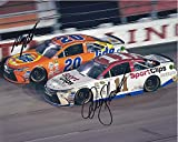 2X AUTOGRAPHED Denny Hamlin & Matt Kenseth 2016 Darlington Throwback Weekend (#11 Sport Clips - #20 Tide Racing) Retro Dual Signed 8X10 Inch Picture NASCAR Glossy Photo with COA