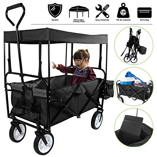 Flex HQ Collapsible Outdoor Utility Lightweight Wagon Cart with Top