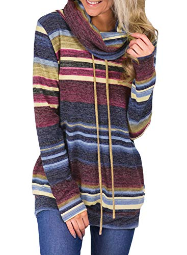 - Womens Long Sleeve Cowl Neck Striped Loose Tunic Pullover Sweatshirt Lightweight Casual Drawstring Blouse Tops Pockets Blue S 4 6