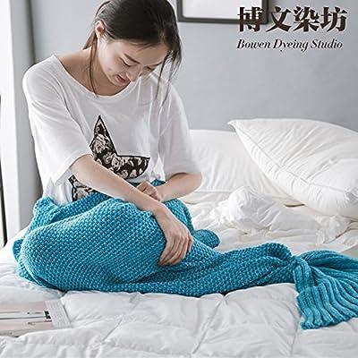 La couverture de la Petite Sirène canapé relaxant knitting knitting plat et ,80cmx180cm (adulte), le lac Blue