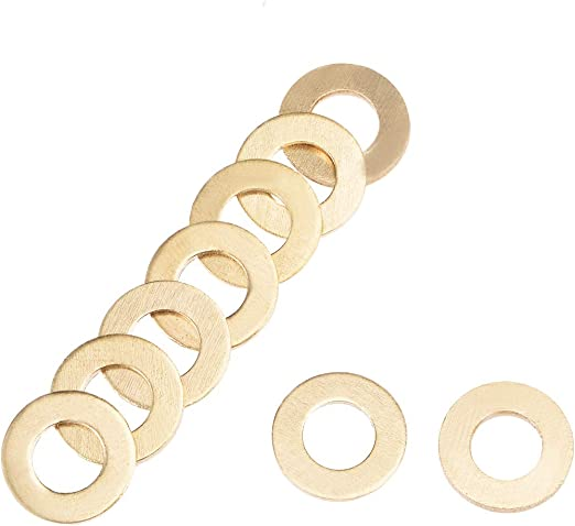 uxcell 30Pcs 8mm x 12mm x 1mm Copper Flat Washer for Screw Bolt