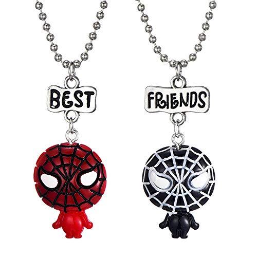 Eiffy 2 Pcs Cartoon Super Hero Spiderman Space Astronaut Spaceman Pendant Necklace Spider-Man for Women Best Friends Sets BFF Jewelry (Spiderman) -