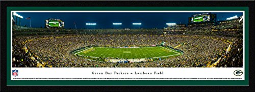 Green Bay Packers - 50 Yard - Night - Blakeway Panoramas NFL Posters with Select Frame