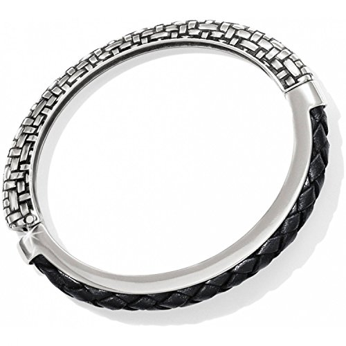 Brighton Talana Silver and Black Leather Hinged Bangle Bracelet
