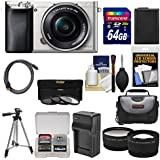 Sony Alpha A6000 Wi-Fi Digital Camera & 16-50mm Lens (Silver) with 64GB Card + Case + Battery/Charger + Tripod + Tele/Wide Lens Kit